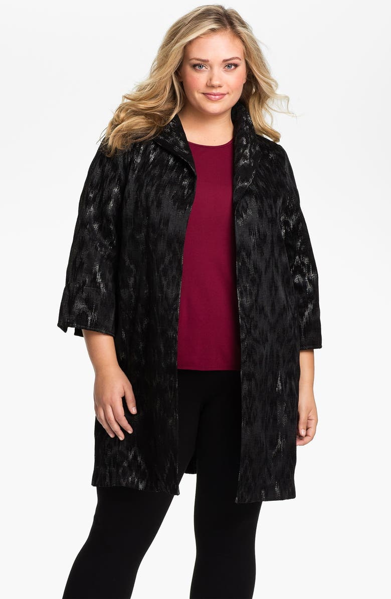 EILEEN FISHER Open Front Three Quarter Sleeve Coat, Main, color, Black