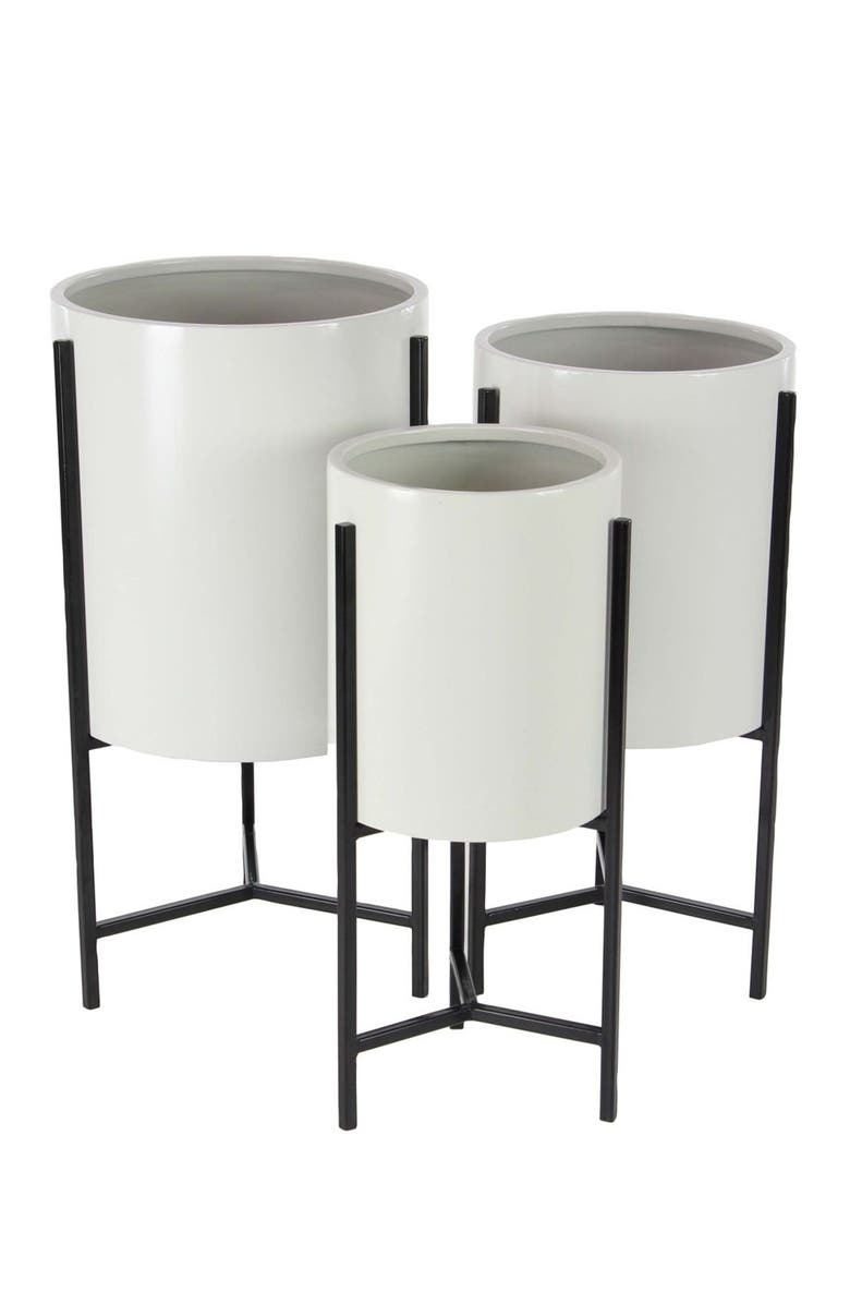 WILLOW ROW White Modern Drum Standing Planter - Set of 3, Main, color, WHITE