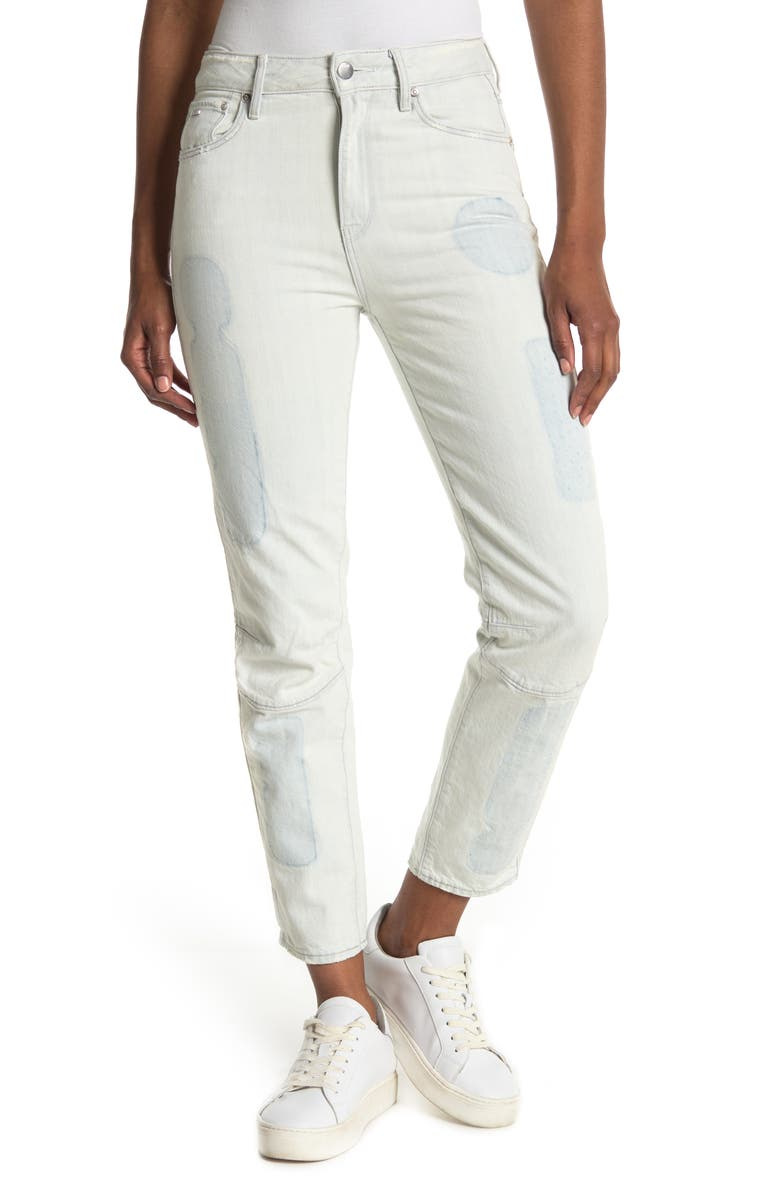 G-STAR RAW Biwes Badge High Rise Straight Fit Ankle Jeans, Main, color, ULTRA LT AGED