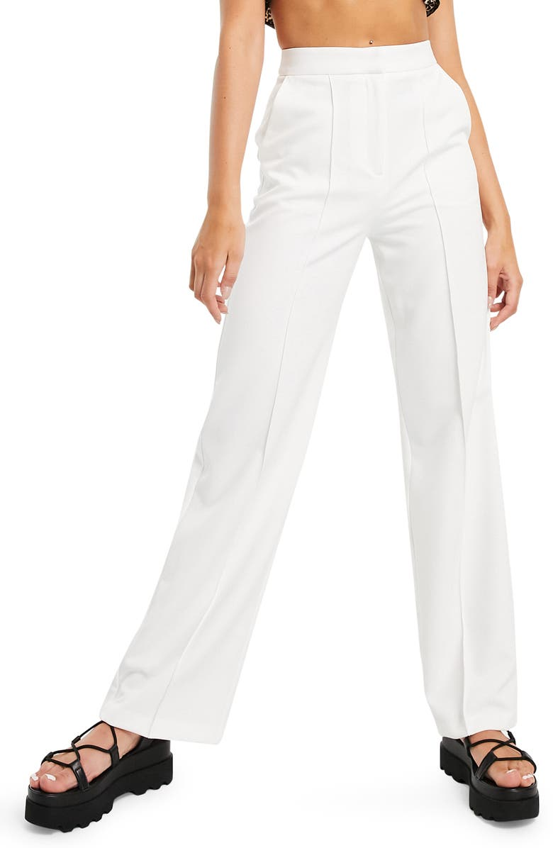 TOPSHOP Seamed Straight Leg Trousers, Main, color, IVORY
