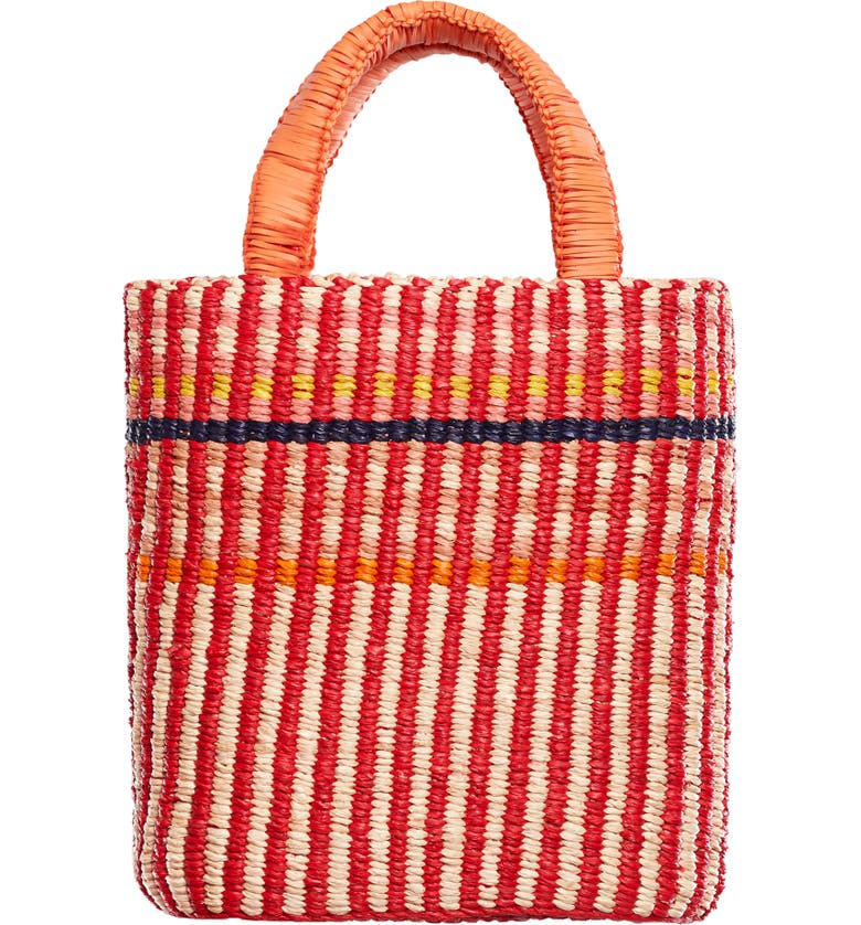 A A K S AAKS Delma Raffia Tote, Main, color, RED/ PALE/ PINK/ ORANGE/ NAVY