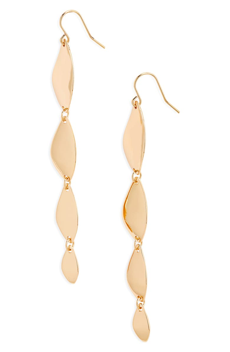 HALOGEN<SUP>®</SUP> Metal Leaf Linear Earrings, Main, color, Gold