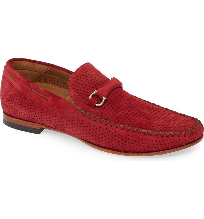 MEZLAN Marcello Perforated Bit Loafer, Main, color, RED