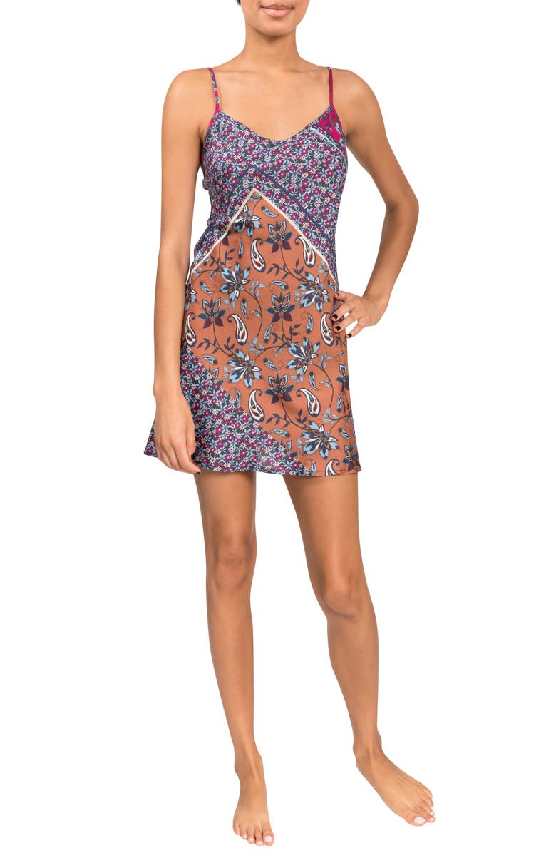 EVERYDAY RITUAL Kimmie Floral Cotton & Silk Chemise, Main, color, NAVY ENGLISH GARDEN