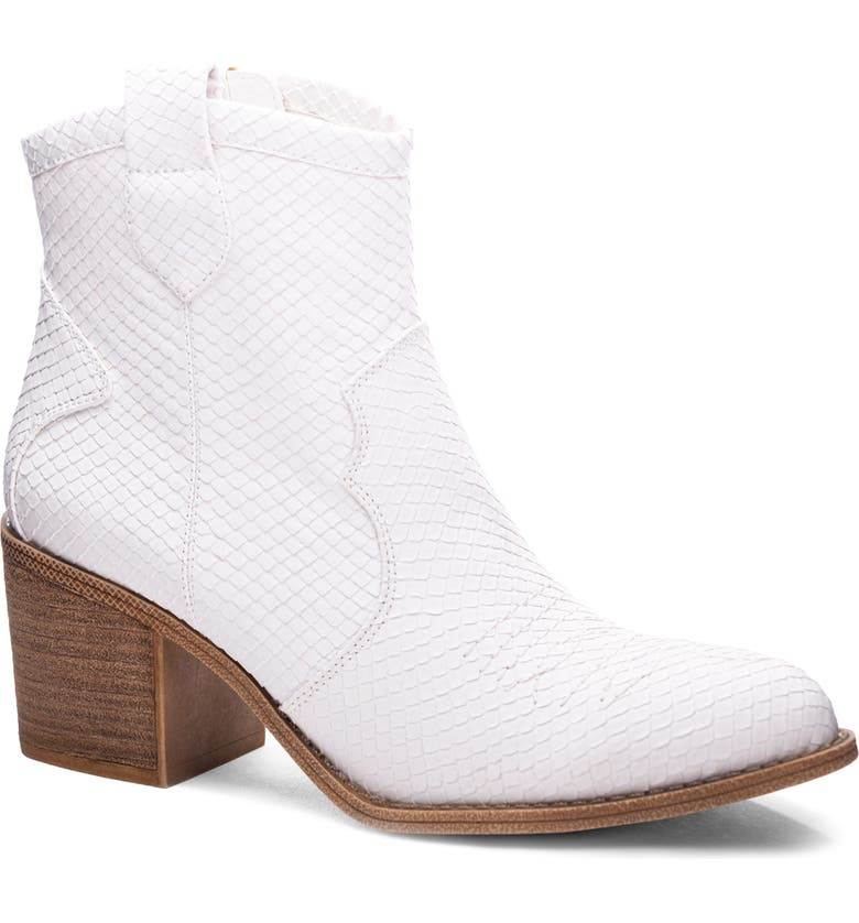 DIRTY LAUNDRY Unite Western Bootie, Main, color, WHITE