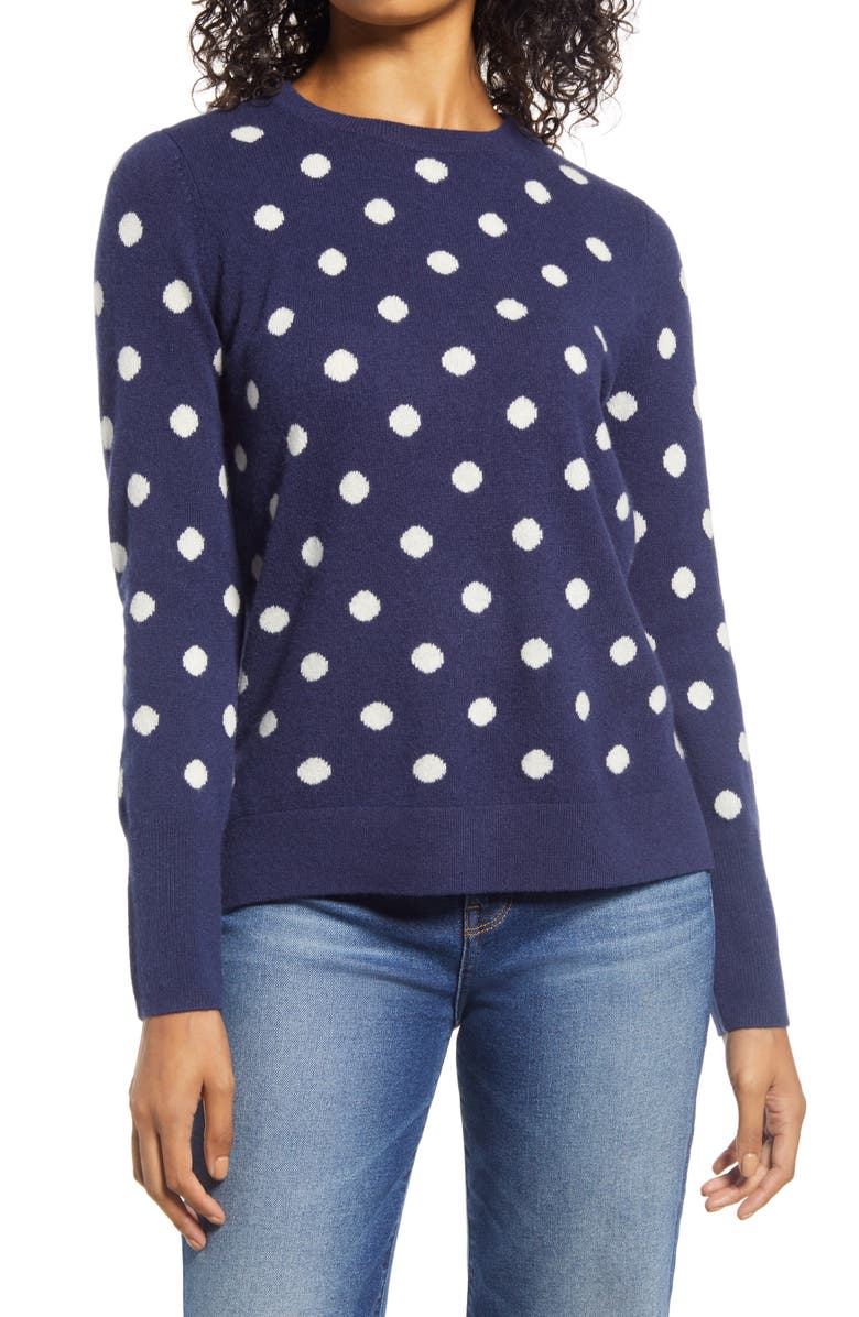 HALOGEN<SUP>®</SUP> Dot Crewneck Cashmere Sweater, Main, color, NAVY- IVORY DOT