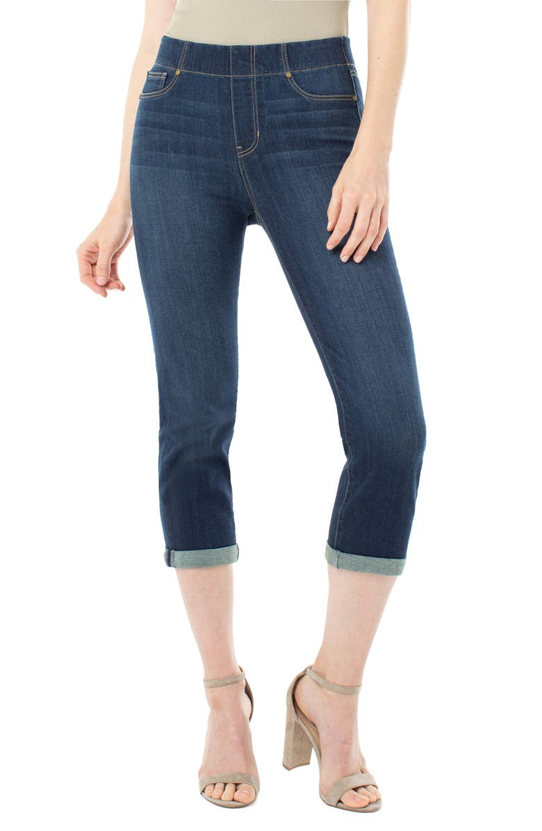 LIVERPOOL Chloe Pull-On Roll Cuff Capri Jeans, Main, color, MAYFIELD CUFF