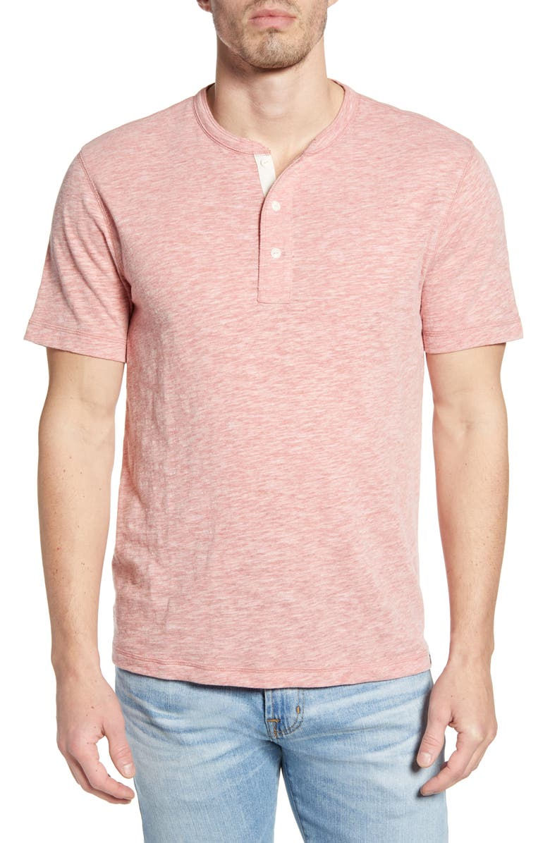 FAHERTY BRAND Short Sleeve Heathered Henley, Main, color, VENICE RED