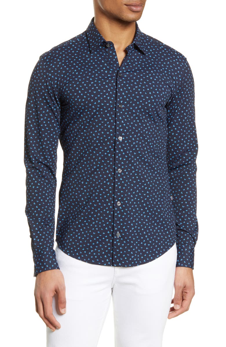 BOSS Robbie Slim Fit Mini Floral Print Button-Up Performance Shirt, Main, color, 400