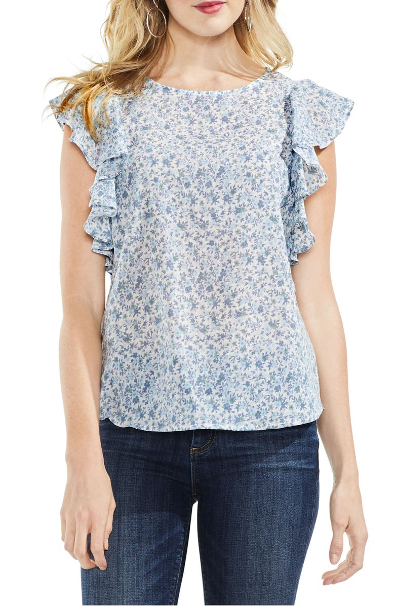 VINCE CAMUTO Whisper Ditsy Ruffle Sleeve Top, Main, color, ANTIQUE WHITE