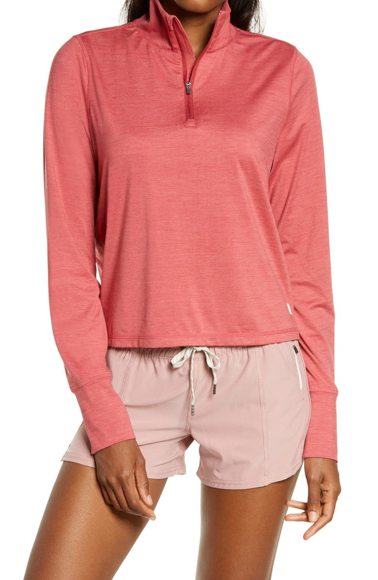 VUORI Crescent Performance Half-Zip Crop Pullover, Main, color, SIERRA HEATHER