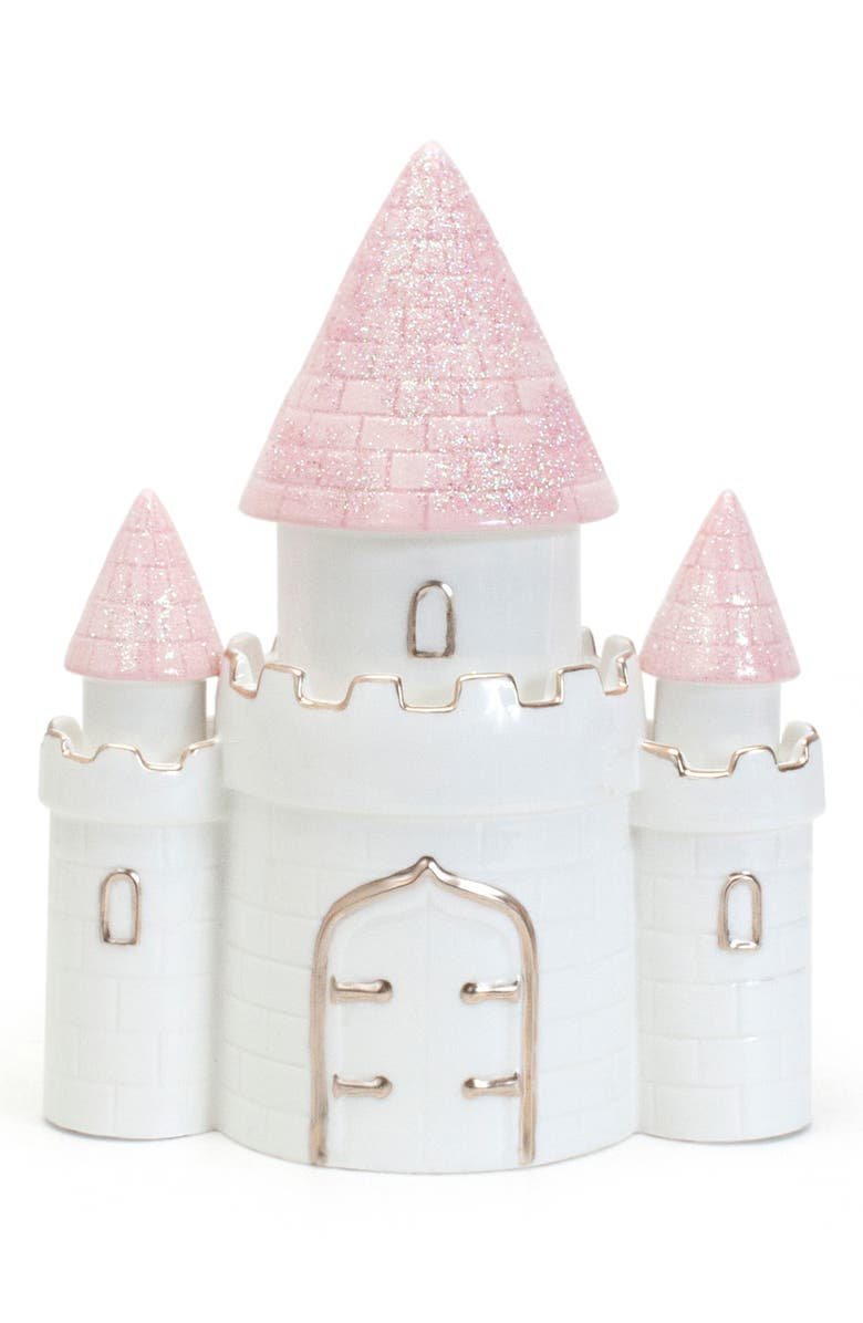 CHILD TO CHERISH Ceramic Castle Bank, Main, color, PINK/ WHITE