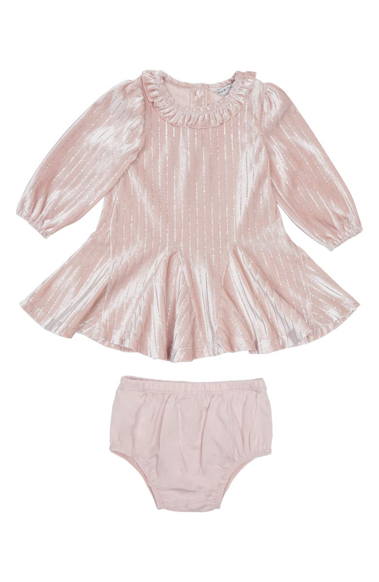 HABITUAL GIRL Habitual Saylor Stripe Velour Dress, Main, color, LIGHT PINK