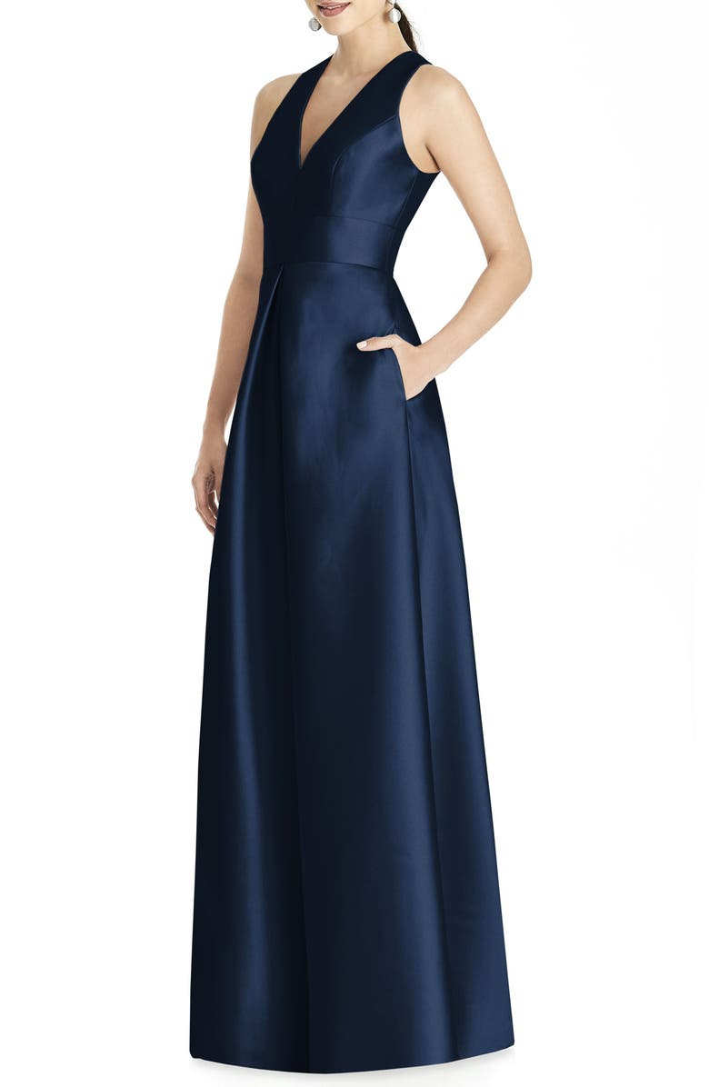 ALFRED SUNG Cutout Back Satin A-Line Gown, Main, color, MIDNIGHT