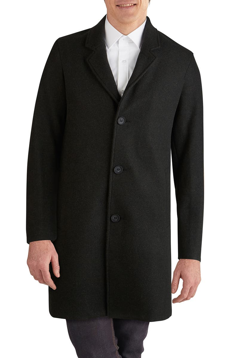 COLE HAAN Regular Fit Stretch Wool Coat, Main, color, 001