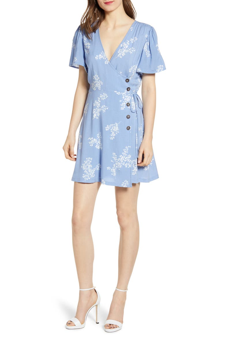 ALL IN FAVOR Button Front Wrap Dress, Main, color, 400