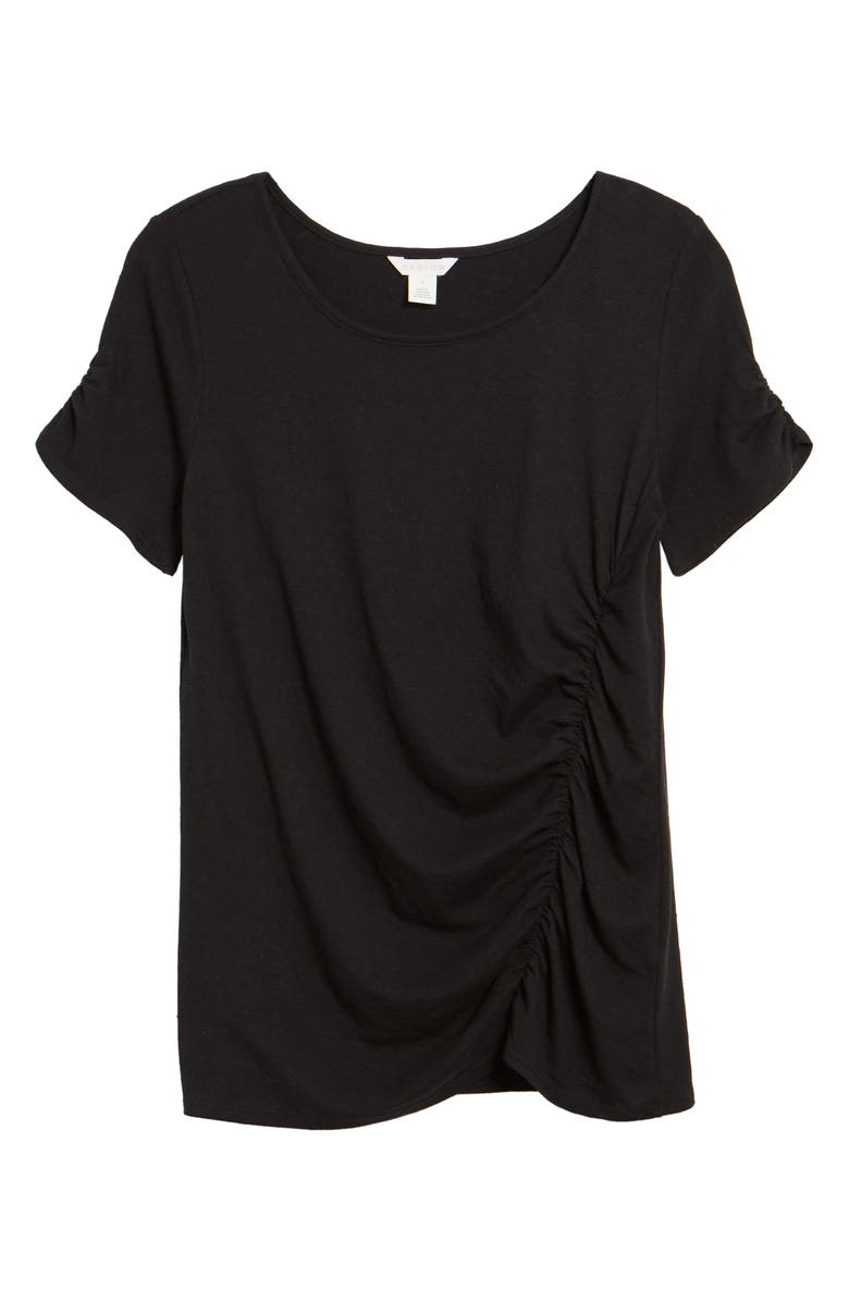 CASLON<SUP>®</SUP> Ruched Knit T-Shirt, Main, color, 001