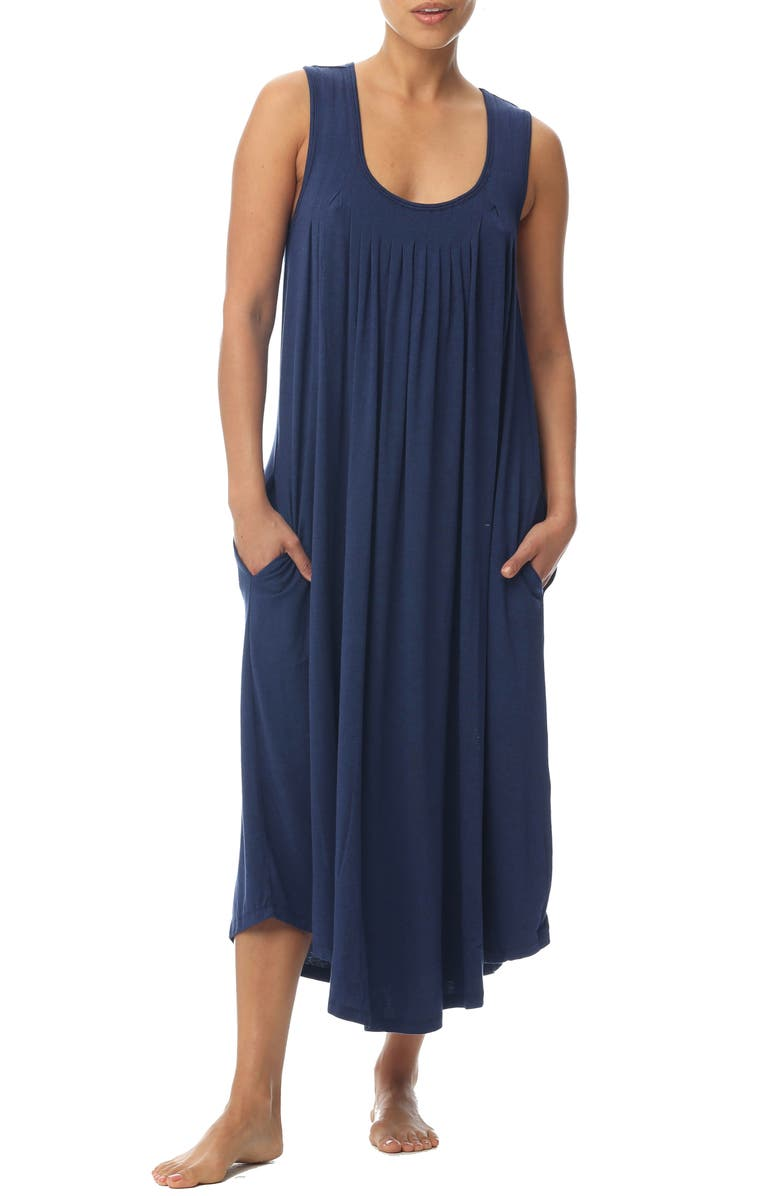 PAPINELLE Pleated Nightgown, Main, color, NAVY