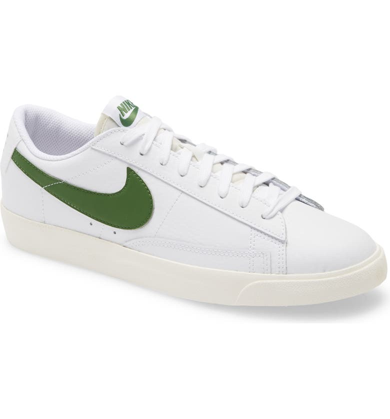 NIKE Blazer Low Leather Sneaker, Main, color, WHITE/ FOREST GREEN/ SAIL