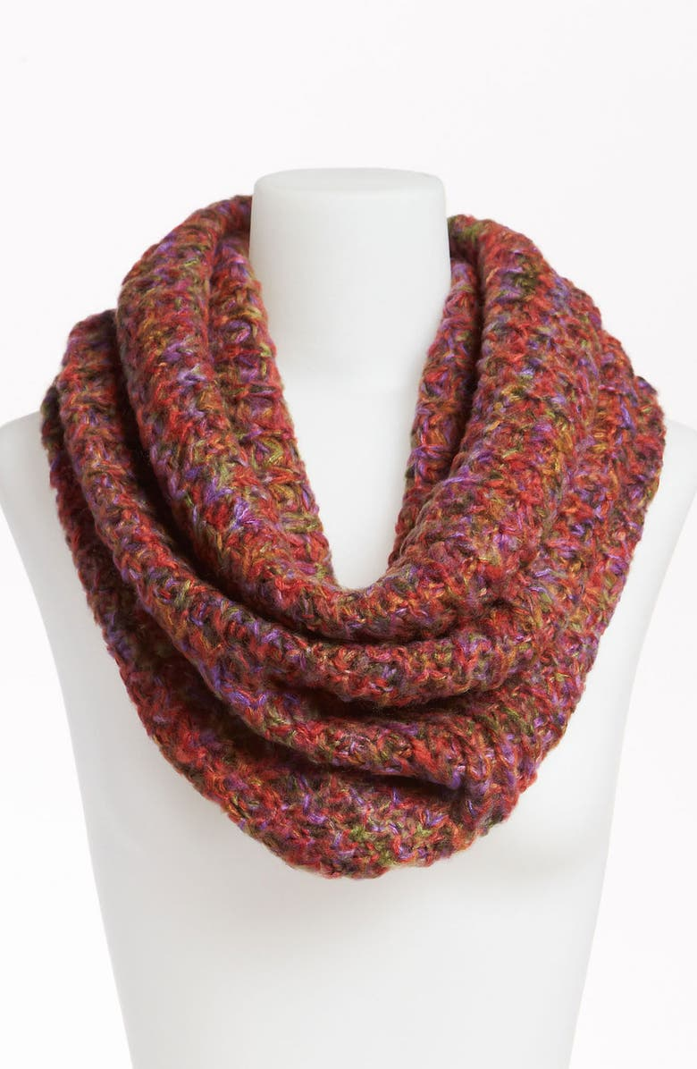 DAVID & YOUNG Chunky Knit Infinity Scarf, Main, color, RUST COMBO