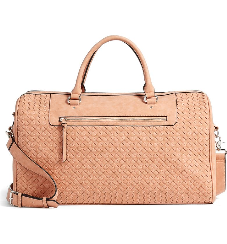 VIOLET RAY NEW YORK Woven Faux Leather Weekend Bag, Main, color, PEACH