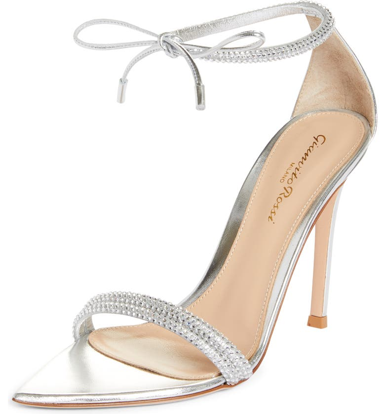 GIANVITO ROSSI Ankle Wrap Crystal Sandal, Main, color, SILVER SILVER