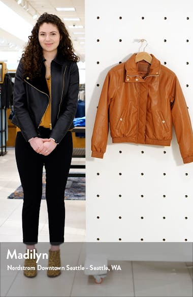 Crop Faux Leather Bomber Jacket, sales video thumbnail