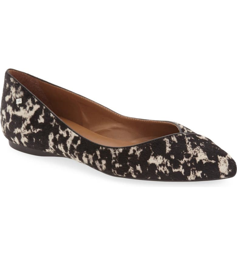 FRENCH SOLE 'Peppy' Pointy Toe Ballet Flat, Main, color, BLACK CALF HAIR