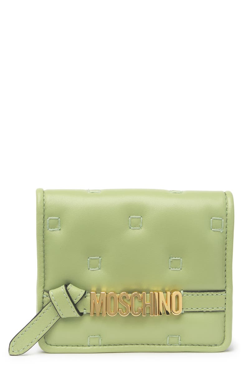 MOSCHINO Quilted Leather Wallet, Main, color, LIGHT GREEN