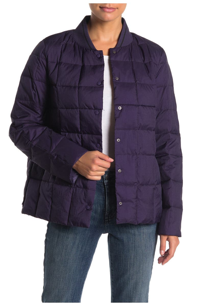 TRINA TURK Solid Puffer Down Jacket, Main, color, EGGPLANT