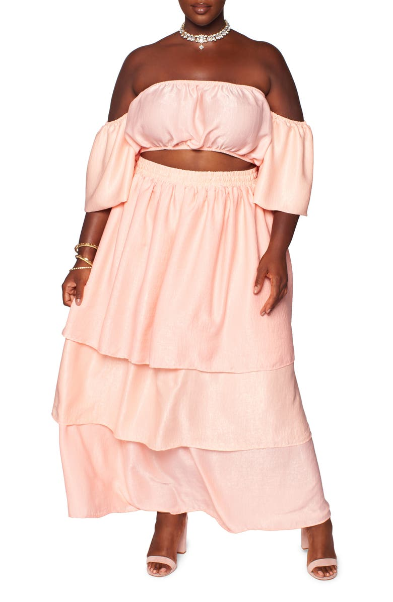 ZELIE FOR SHE The Goddess Two-Piece Top and Skirt Set, Main, color, DUSTY PINK