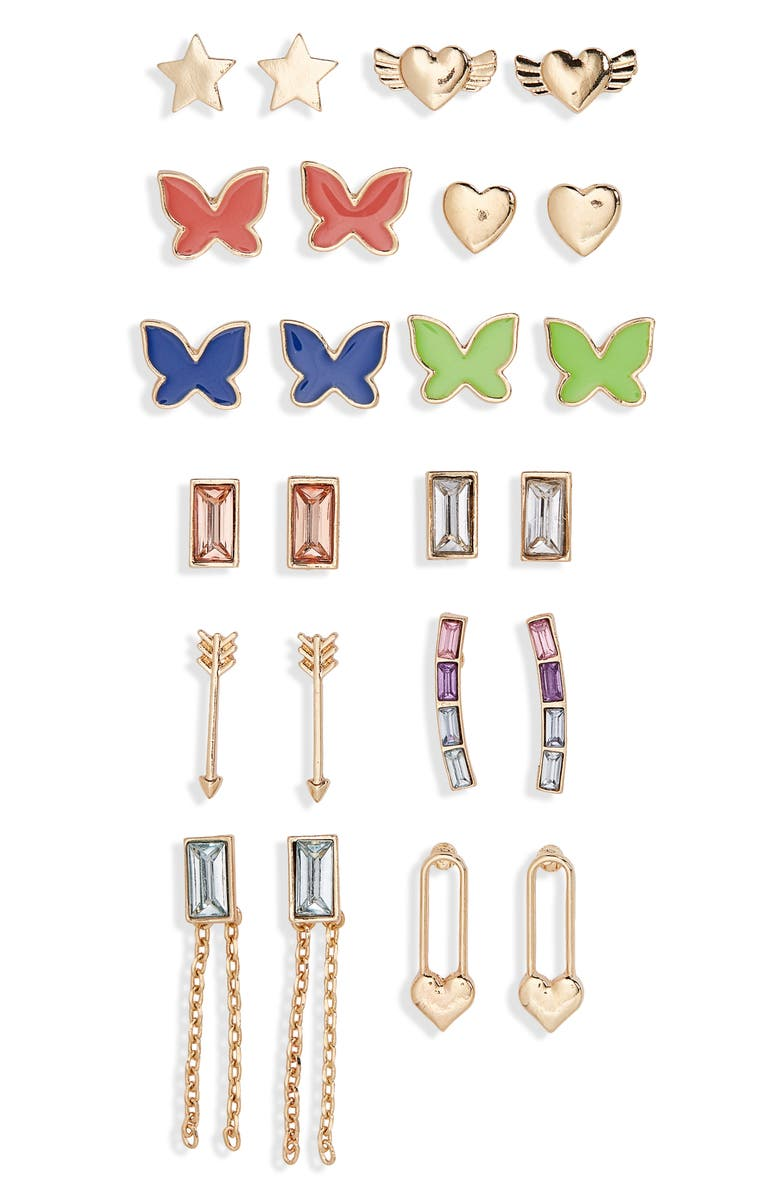 BP. Assorted 12-Pack Butterfly Earrings, Main, color, 710