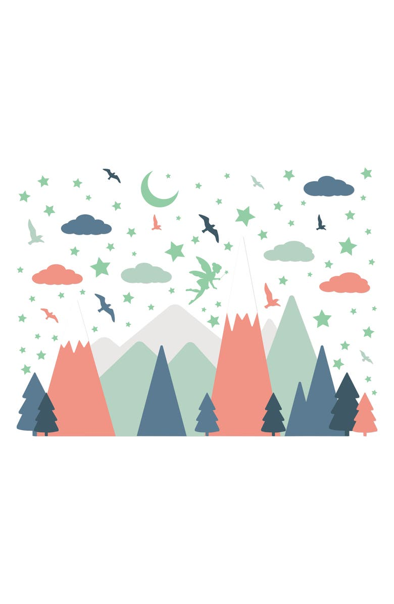 WALPLUS Glowing Fairy Night With Colorful Mountains Wall Decal Set, Main, color, MULTI