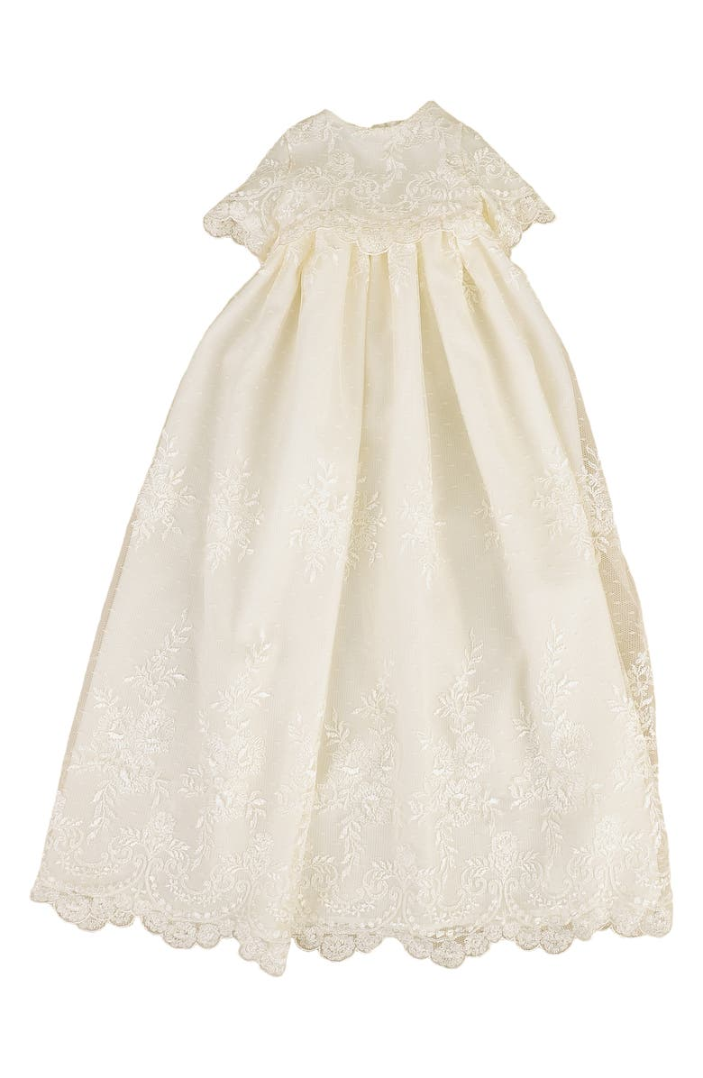 LITTLE THINGS MEAN A LOT Christening Gown, Shawl, Slip & Bonnet Set, Main, color, IVORY