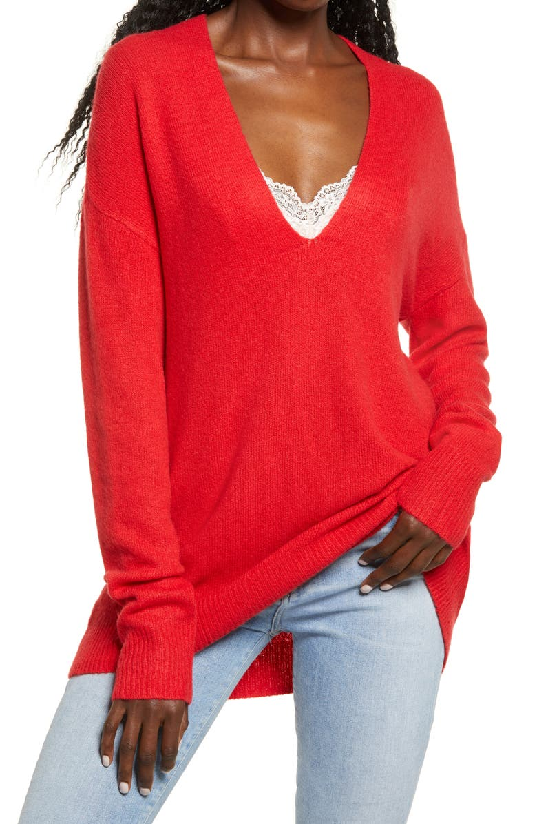 LEITH Cozy V-Neck Sweater, Main, color, RED CHINOISE