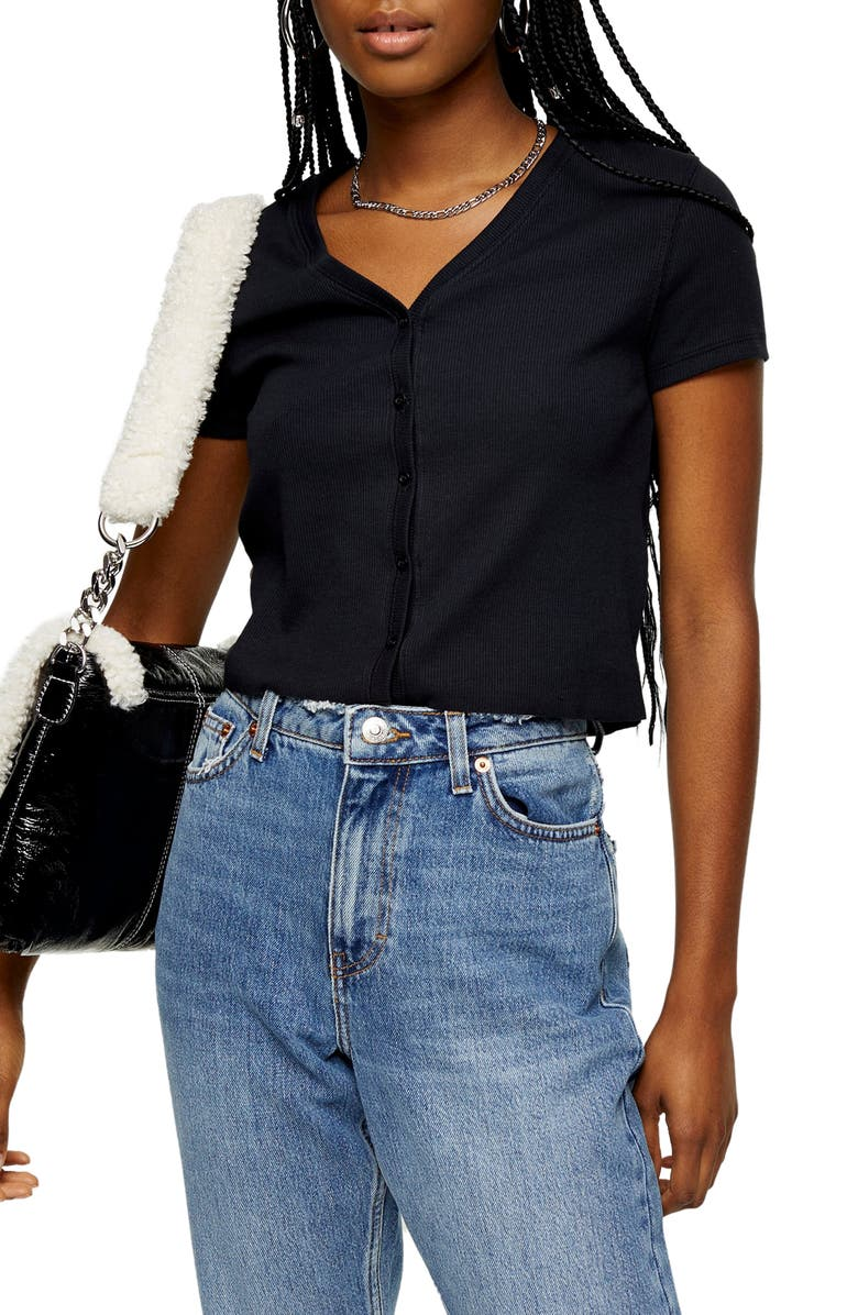TOPSHOP Button-Up Ribbed Tee, Main, color, 001
