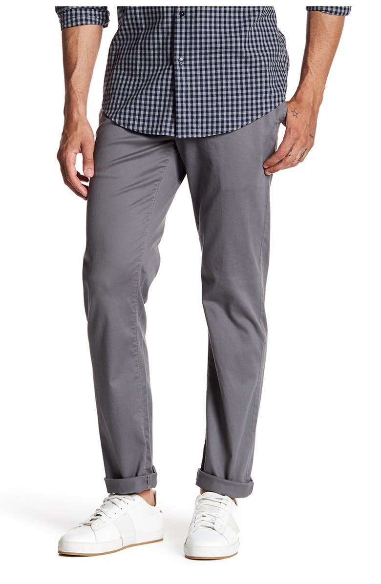 """14TH AND UNION The Wallin Stretch Twill Chino Pants - 30-34"""" Inseam, Main, color, GREY CASTLEROCK"""