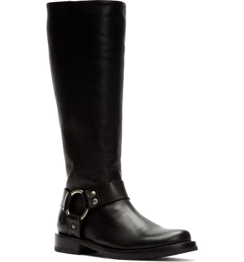 FRYE Veronica Harness Knee High Boot, Main, color, BLACK LEATHER