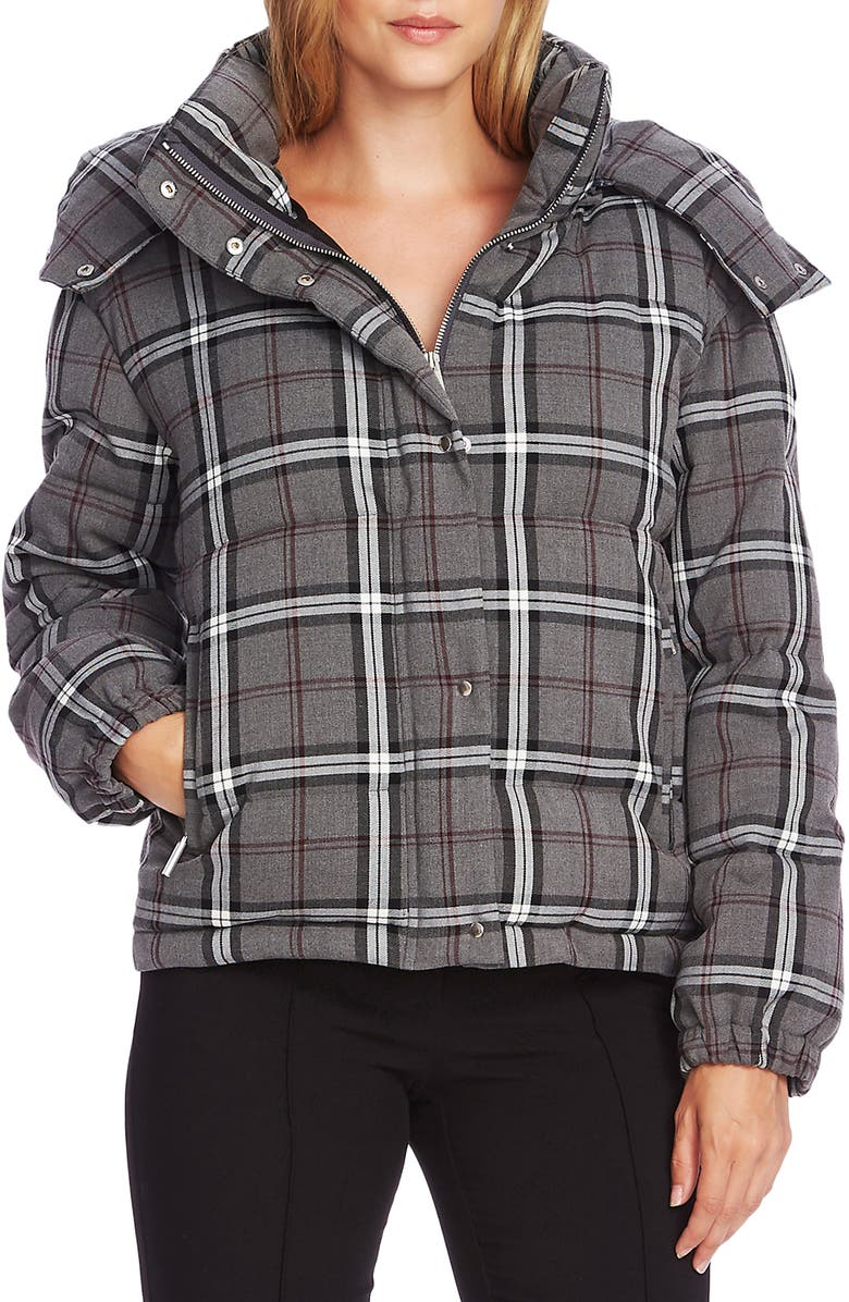 VINCE CAMUTO Plaid Hooded Puffer Jacket, Main, color, 023