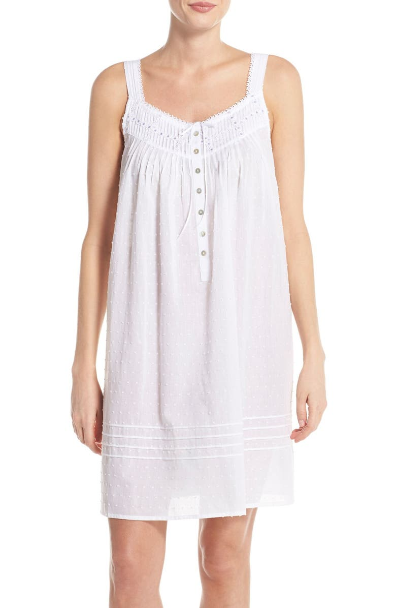 EILEEN WEST Swiss Dot Cotton Nightgown, Main, color, 100