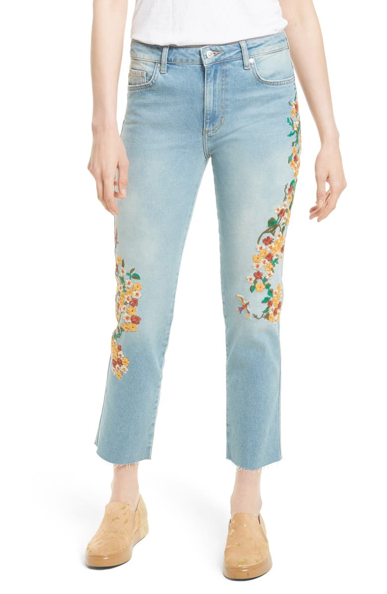 FREE PEOPLE Embroidered Crop Girlfriend Jeans, Main, color, LIGHT DENIM