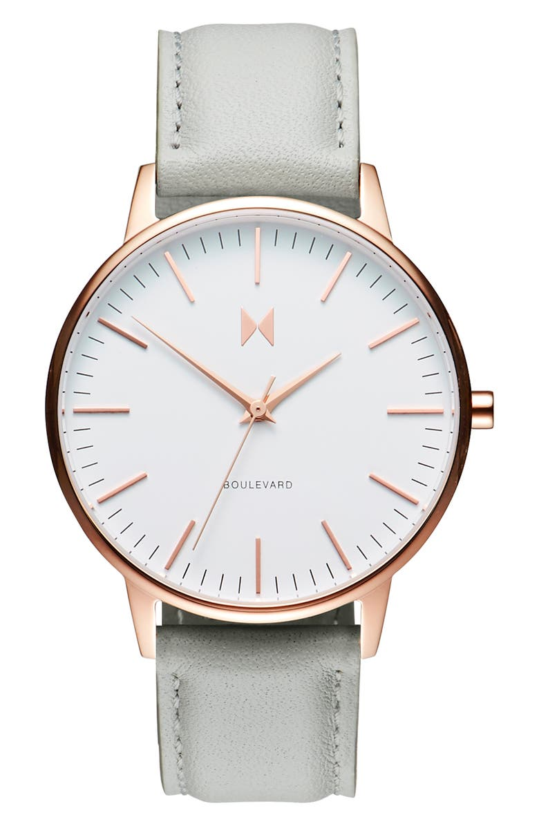 MVMT Boulevard Leather Strap Watch, 38mm, Main, color, GREY/ WHITE/ ROSE GOLD