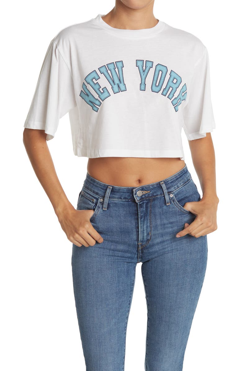 ABOUND Graphic Crop T-Shirt, Main, color, WHITE NEW YORK