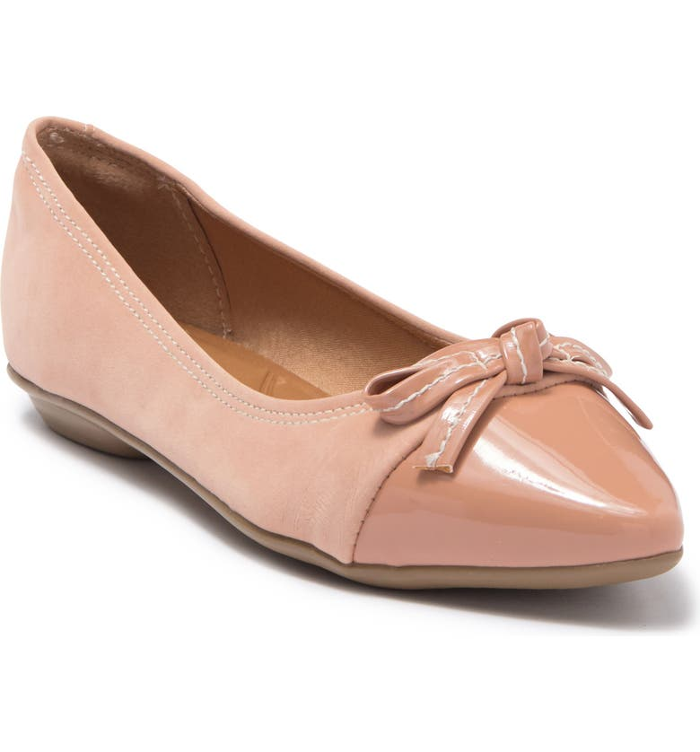 OFFLINE Pointed Cap Toe Bow Flat, Main, color, NUDE