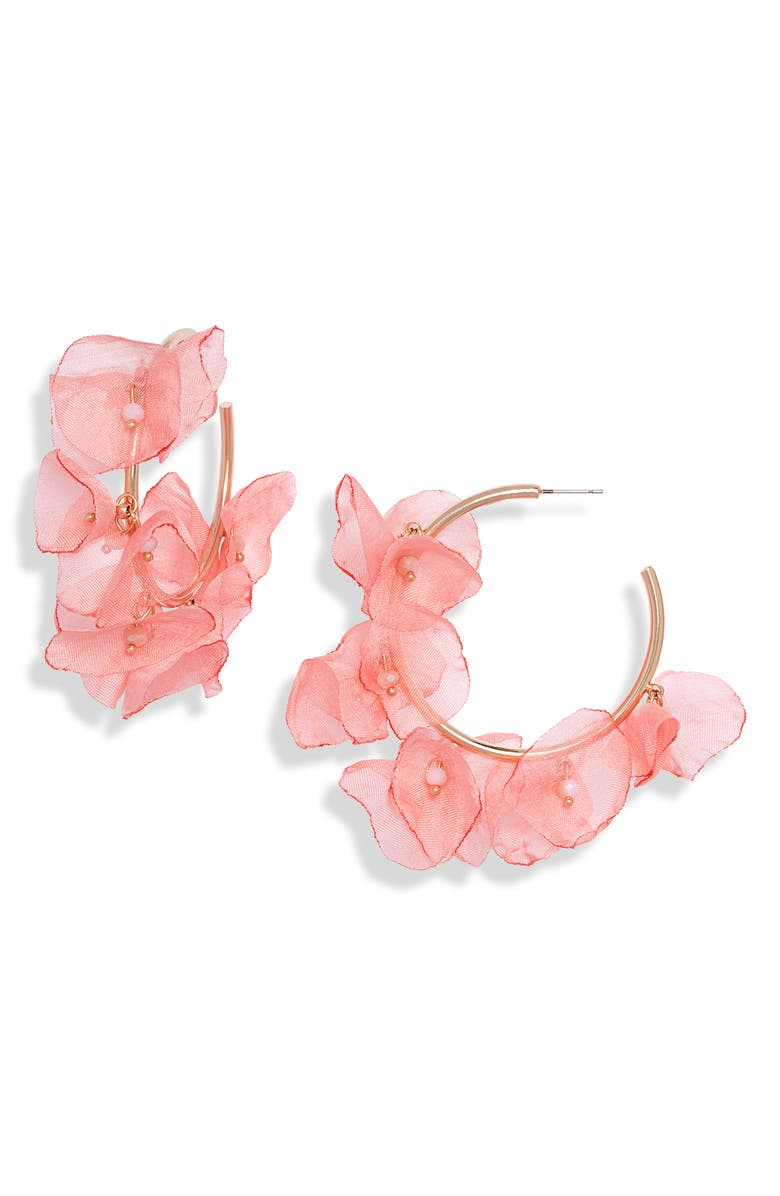 STELLA + RUBY Chiffon Petal Hoop Earrings, Main, color, GLITTER GOLD