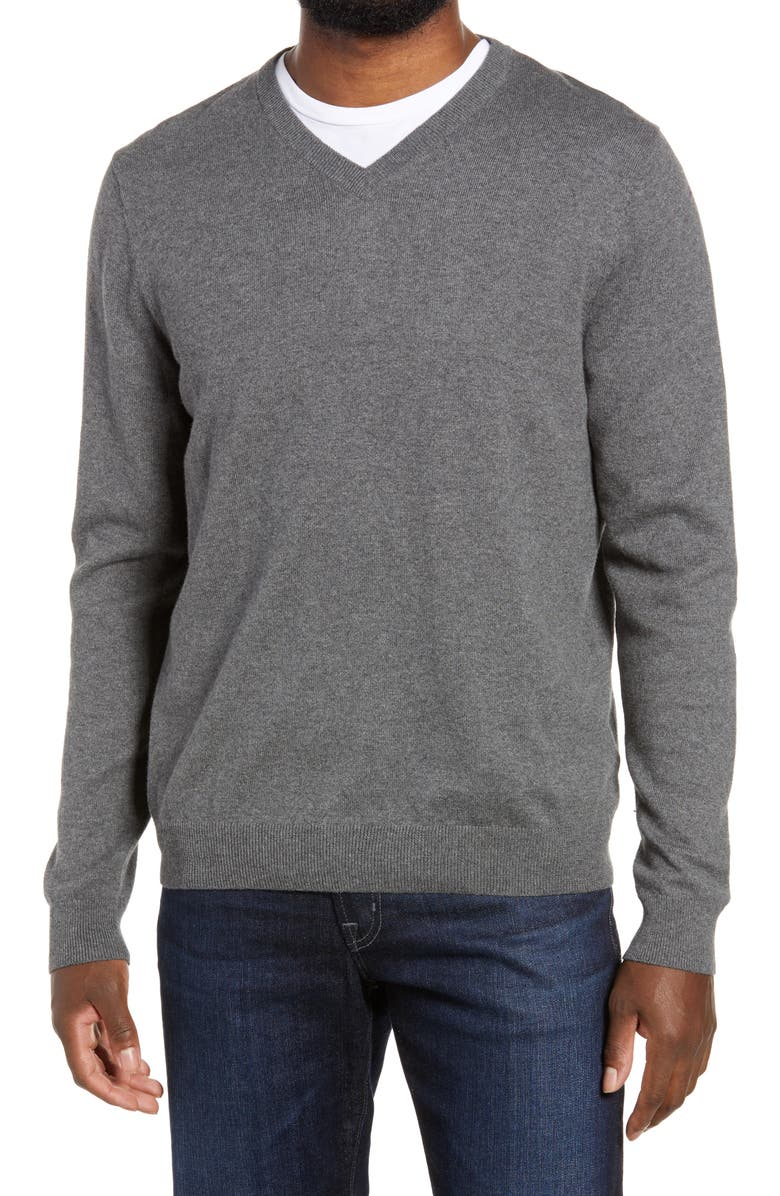 NORDSTROM Men's Shop Cotton & Cashmere V-Neck Sweater, Main, color, GREY CASTLEROCK