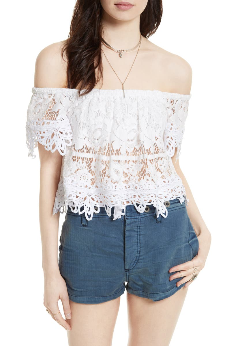 FREE PEOPLE Lace Off the Shoulder Tank, Main, color, White