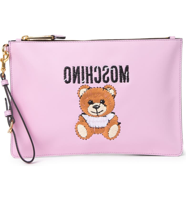 MOSCHINO Embroidered Teddy Zip Pouch, Main, color, PINK