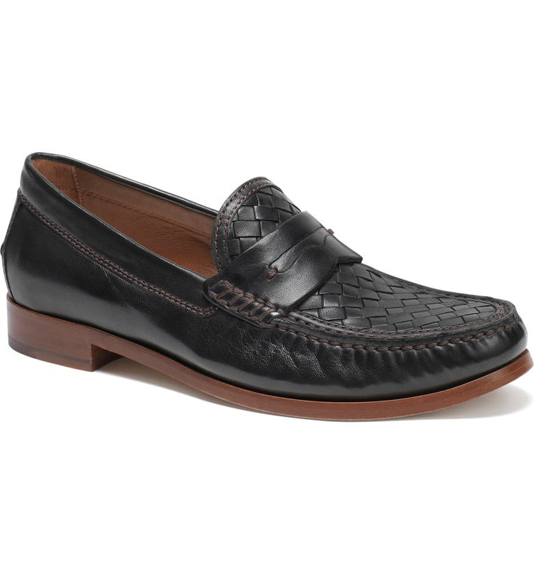 TRASK Slade Woven Penny Loafer, Main, color, BLACK LEATHER