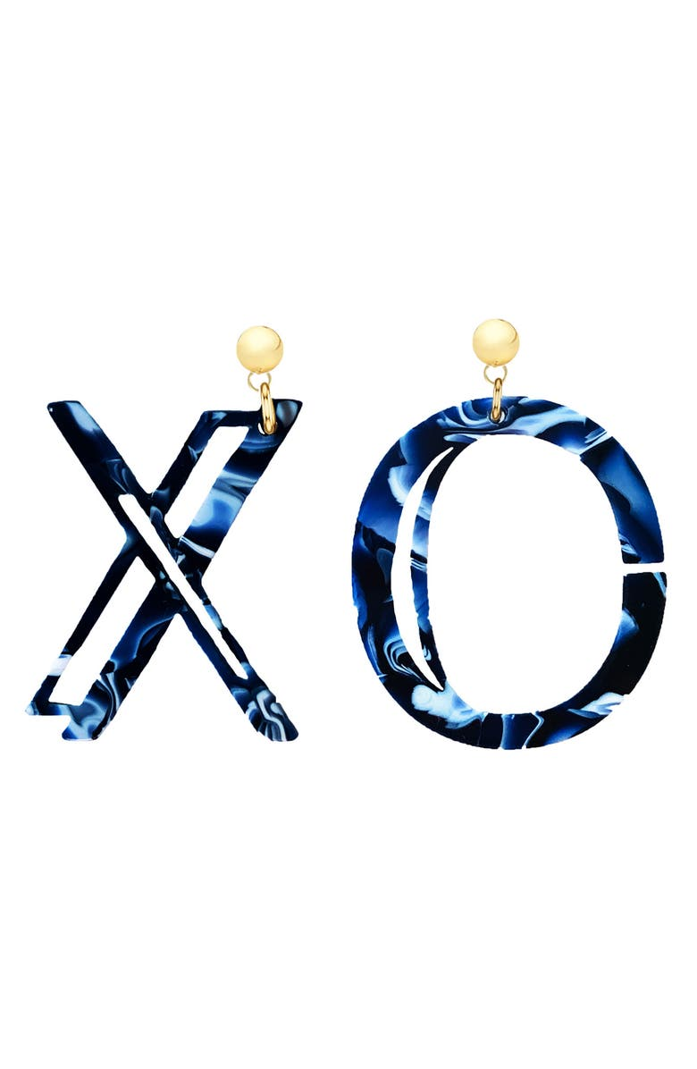 STATEMENT BY NADIA XO Earrings, Main, color, BLUE / POST